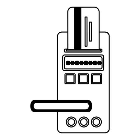hotel door digital panel with card access vector illustration