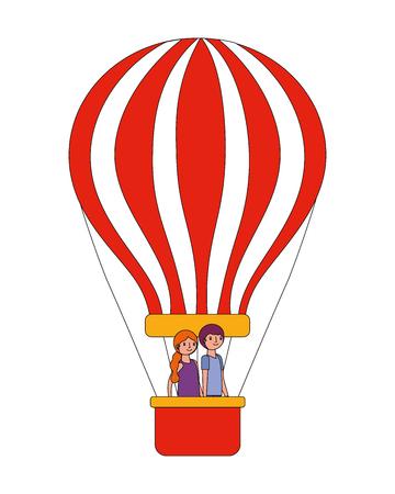 romantic couple in hot air balloon vector illustration
