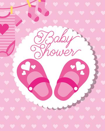 Ilustración de pink little shoes socks and bodysuit baby shower greeting card vector illustration - Imagen libre de derechos