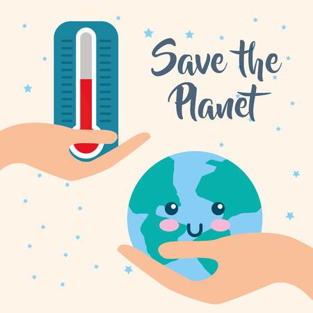 Ilustración de save planet and thermometer hot earth hour vector illustration - Imagen libre de derechos
