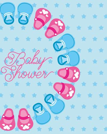 Illustration pour cute little shoes baby shower card dots background vector illustration - image libre de droit