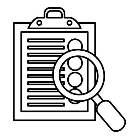 Illustration pour clipboard checklist with magnifying glass vector illustration design - image libre de droit