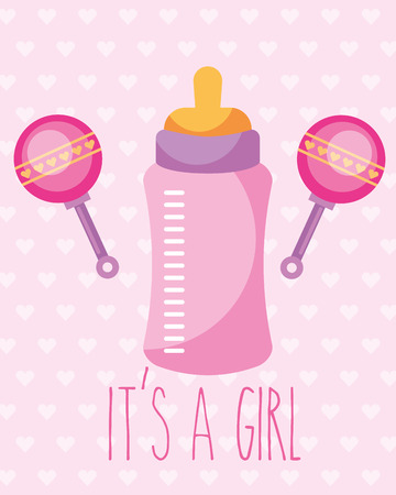 Illustration pour pink feeding bottle and rattles toy its a girl card vector illustration - image libre de droit