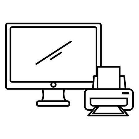 Illustration pour computer display with printer vector illustration design - image libre de droit