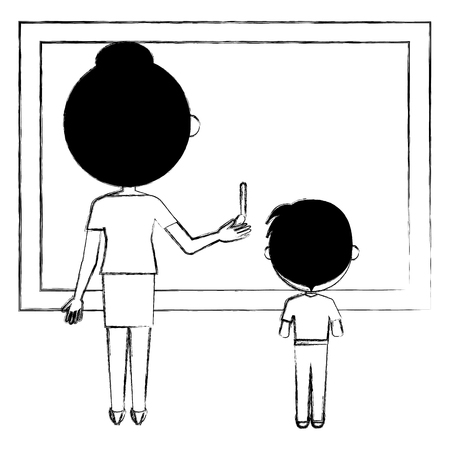 woman teacher with chalkboard and boy vector illustration design