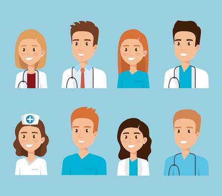 Illustration pour healthcare medical staff characters vector illustration design - image libre de droit