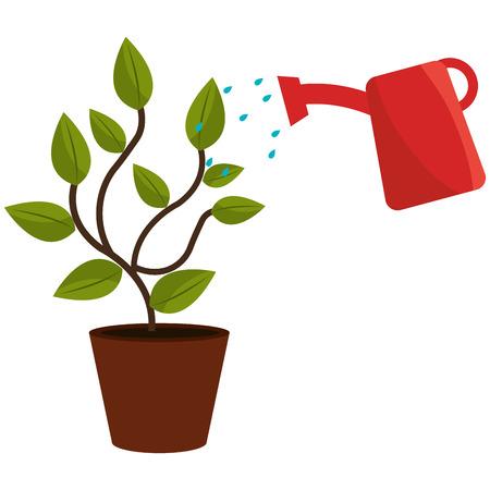 Illustration pour plant with sprinkler pot vector illustration design - image libre de droit