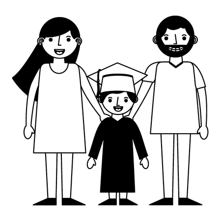 happy parents and school graduate boy vector illustration black and white