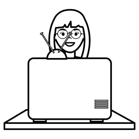 Illustration pour young woman watching television vector illustration design - image libre de droit