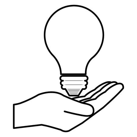 Illustration pour hand with bulb light vector illustration design - image libre de droit