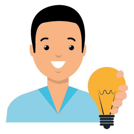 Illustration pour young man with bulb light vector illustration design - image libre de droit