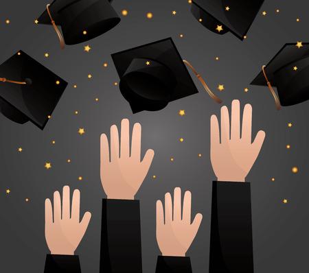 Illustration pour congratulations graduation hands up hats in the air celebration vector illustration - image libre de droit