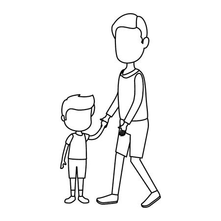 Illustration pour cute and little boy with father characters vector illustration design - image libre de droit