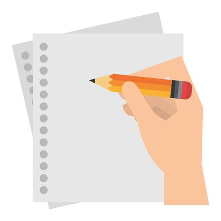 Illustration pour hand writing in notebook sheet vector illustration design - image libre de droit