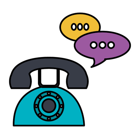 Illustration for telephone with speech bubbles vector illustration design - Royalty Free Image