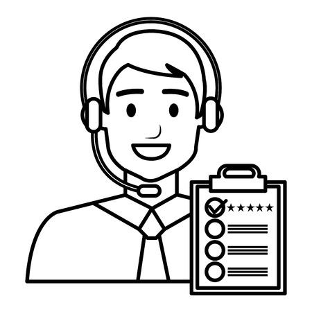 Vektor für call center agent with headset and checklist vector illustration design - Lizenzfreies Bild