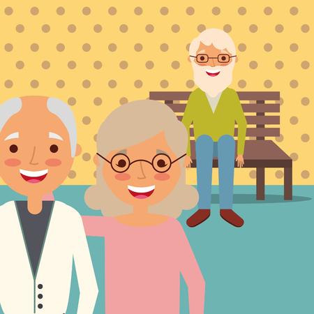 Illustration pour grandparents couple and grandpa sitting on bench vector illustration - image libre de droit