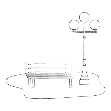 Bench And Lamppost Park Decoration Vector Illustration Hand