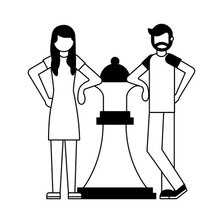 couple with queen chess piece isolated icon vector illustration design