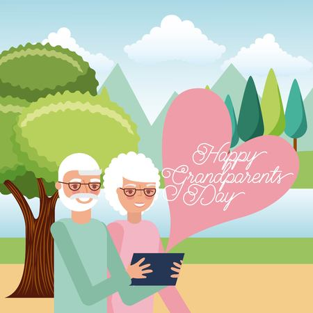 Illustration for grandparents taking selfie with mobile in the park vector illustration - Royalty Free Image