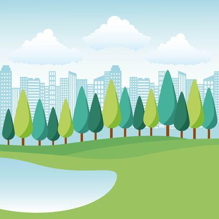 Illustration pour natural park lake trees and city landscape vector illustration - image libre de droit