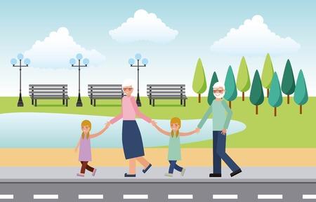 Illustration pour grandparents with grandchildrens walking in the street vector illustration - image libre de droit