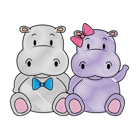 Ilustración de cute and adorable hippo couple characters vector illustration design - Imagen libre de derechos