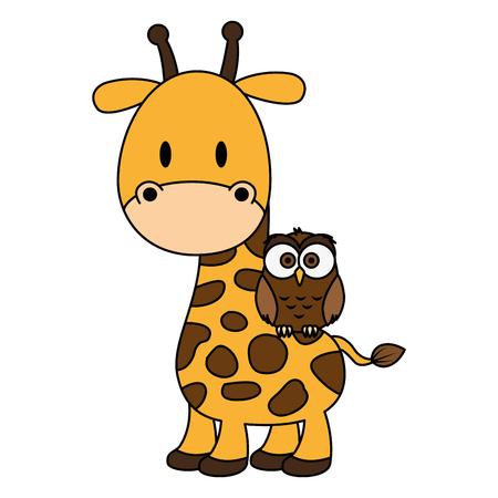 Ilustración de cute and adorable giraffe with owl characters vector illustration design - Imagen libre de derechos