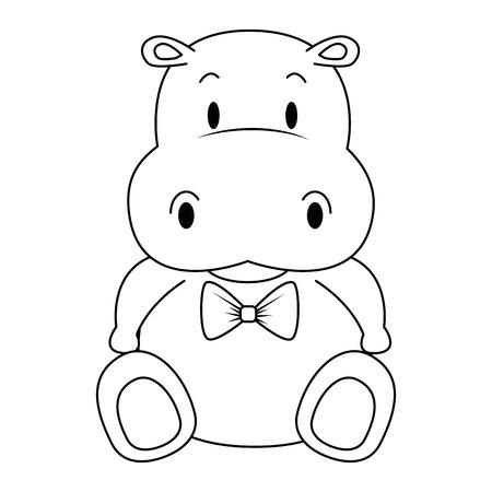 Ilustración de cute and adorable hippo character vector illustration design - Imagen libre de derechos