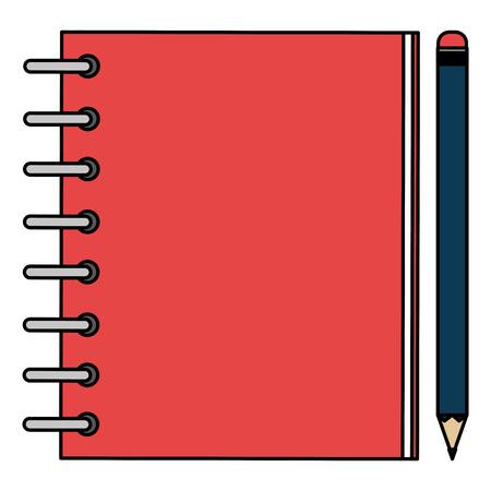 Illustration pour notebook agend with pencil vector illustration design - image libre de droit