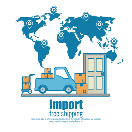 Illustration pour import free shipping set icons vector illustration design - image libre de droit