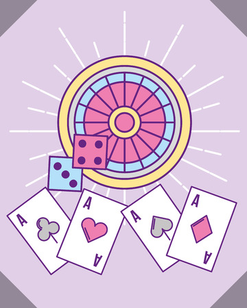casino roulette dices and aces cards poker vector illustration