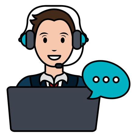 Vektor für call center agent with headset and laptop vector illustration design - Lizenzfreies Bild