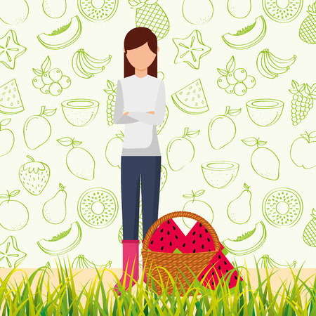 Illustration for woman with basket full watermelon in the grass vector illustration - Royalty Free Image
