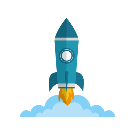 Illustration pour rocket launch startup cartoon image vector illustration - image libre de droit