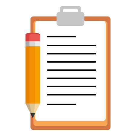 Illustration pour clipboard checklist with pencil vector illustration design - image libre de droit