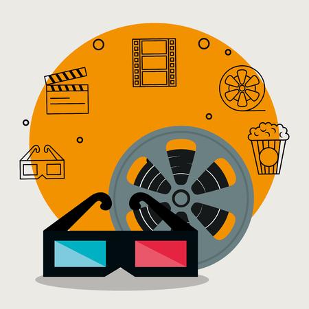 Illustration pour cinema industry set icons vector illustration design - image libre de droit