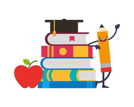 Illustration pour pencil kawaii and school supplies vector illustration design - image libre de droit