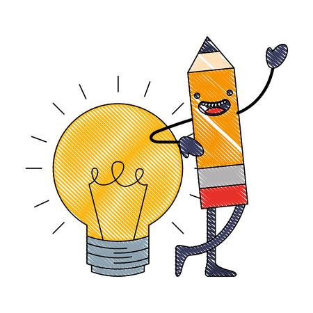 Illustration pour wooden pencil bulb idea cartoon vector illustration - image libre de droit