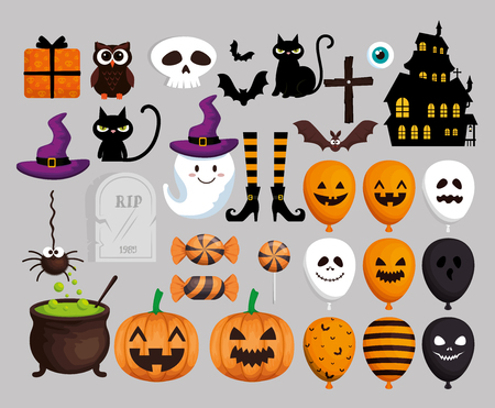 Ilustración de happy halloween card with set icons vector illustration design - Imagen libre de derechos