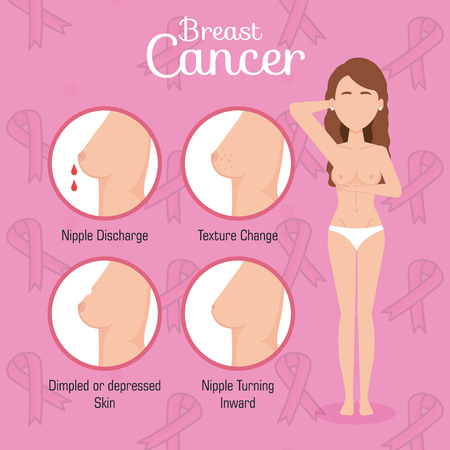 Ilustración de woman figure with breast cancer vector illustration design - Imagen libre de derechos