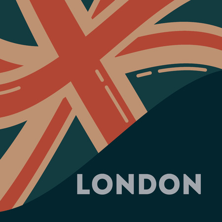 Illustration for love visit london wave flag sign background vector illustration - Royalty Free Image