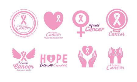 Illustration pour breast cancer set icons vector illustration design - image libre de droit