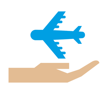 Illustration for hand holding airplane transport protection vector illustration - Royalty Free Image