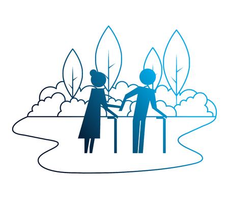 Illustration for grandparents couple in landscape avatars silhouettes vector illustration design - Royalty Free Image
