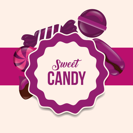 sweet candy label sign lollipops caramels vector illustration
