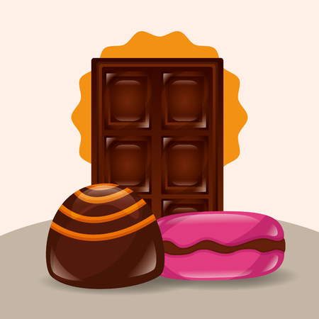 sweet candy chocolate bar stuffed caramel vector illustration