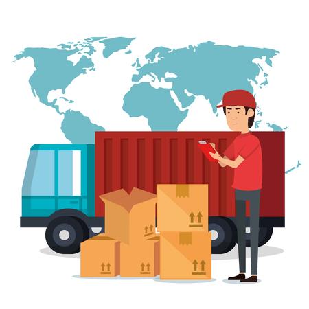 Ilustración de delivery worker with boxes character vector illustration design - Imagen libre de derechos