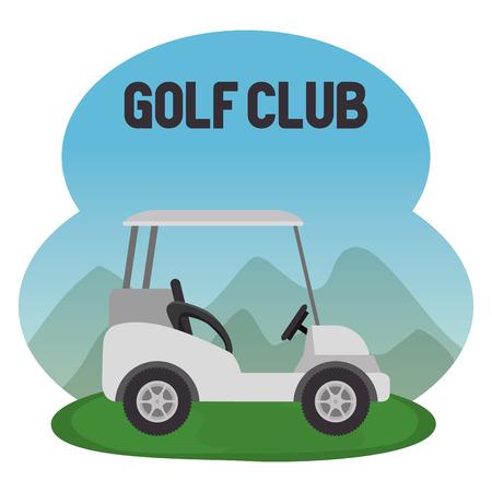 golf sport club with cart vector illustration design