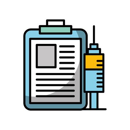 Ilustración de clipboard medical report and syringe vector illustration - Imagen libre de derechos